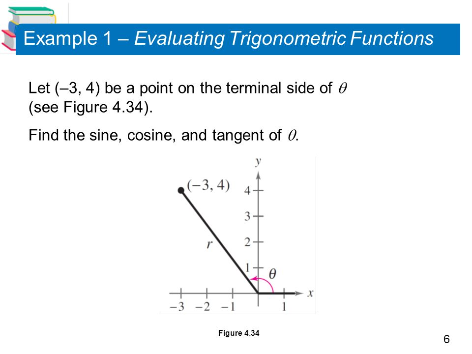 6 Example 1 – Evaluating Trigonometric Functions Let (–3, 4) be a point on the terminal side of  (see Figure 4.34).