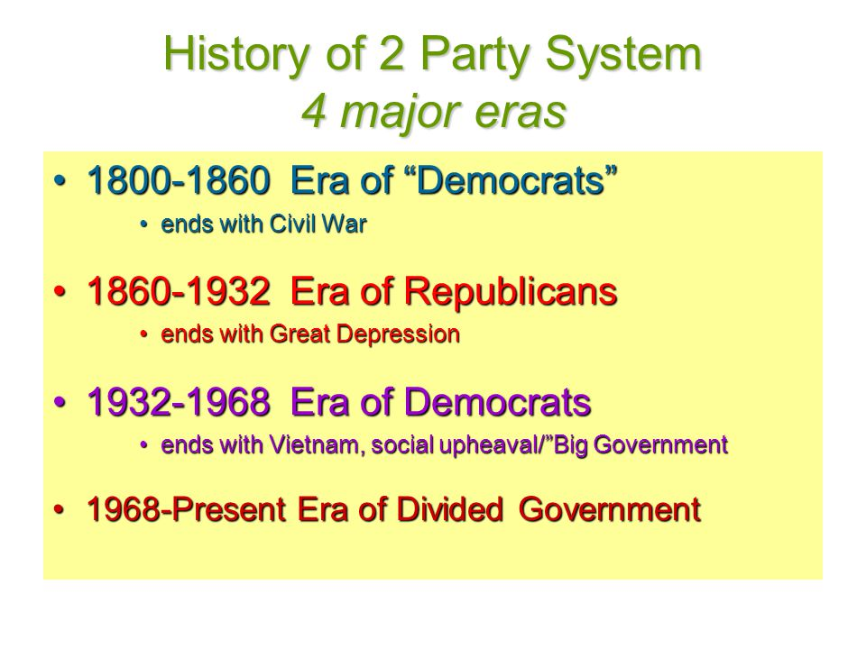History of 2 Party System 4 major eras 1800-1860 Era of Democrats 1800-1860 Era of Democrats ends with Civil Warends with Civil War 1860-1932 Era of Republicans1860-1932 Era of Republicans ends with Great Depressionends with Great Depression 1932-1968 Era of Democrats1932-1968 Era of Democrats ends with Vietnam, social upheaval/ Big Governmentends with Vietnam, social upheaval/ Big Government 1968-Present Era of Divided Government1968-Present Era of Divided Government