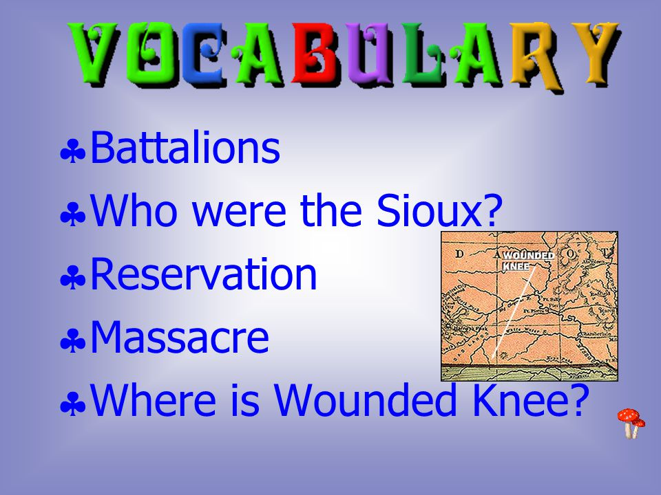  Battalions  Who were the Sioux  Reservation  Massacre  Where is Wounded Knee