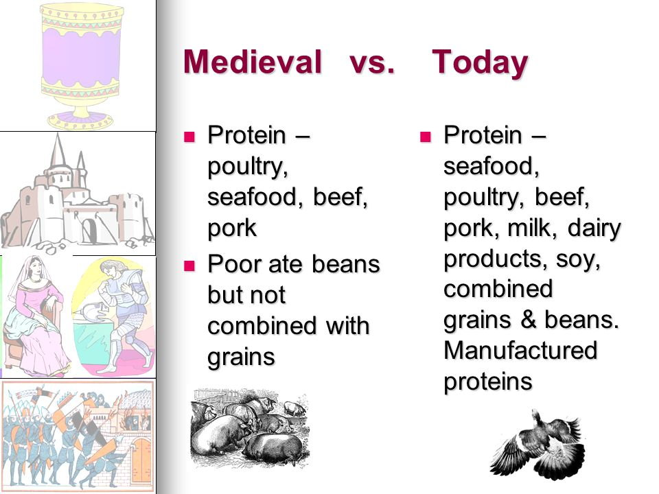 Medieval vs. Today Protein – poultry, seafood, beef, pork Protein – poultry, seafood, beef, pork Poor ate beans but not combined with grains Poor ate