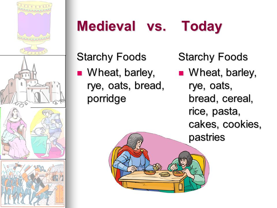 Medieval vs. Today Starchy Foods Wheat, barley, rye, oats, bread, porridge Wheat, barley, rye, oats, bread, porridge Starchy Foods Wheat, barley, rye,