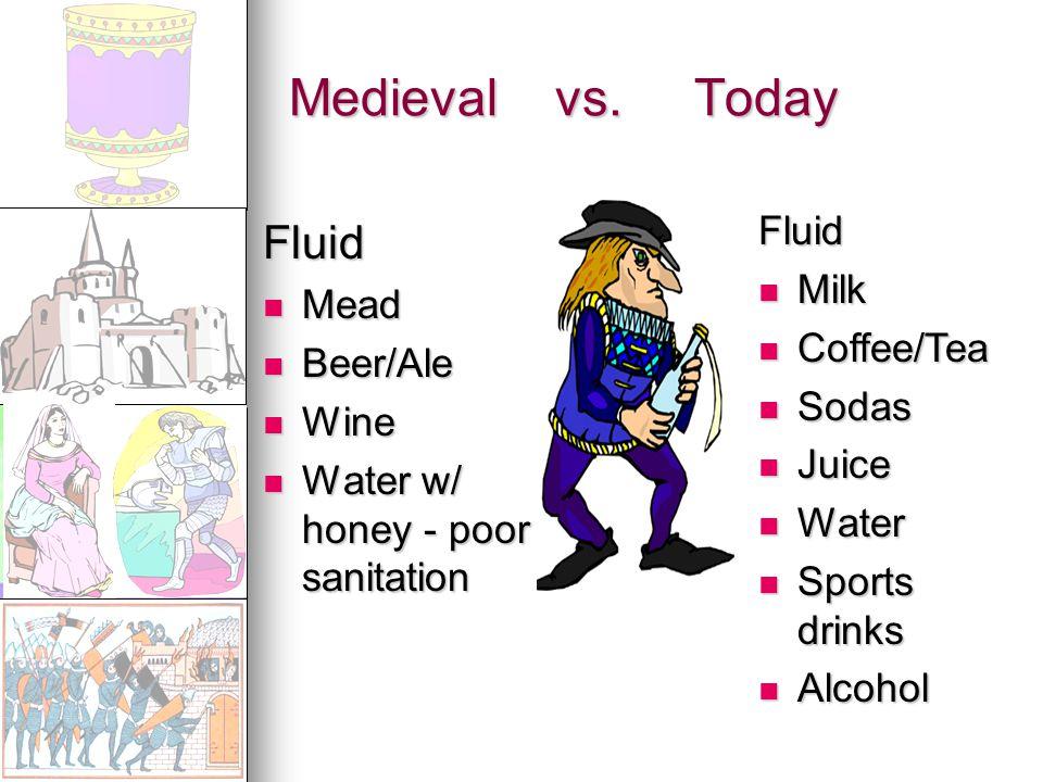 Medieval vs. Today Fluid Mead Mead Beer/Ale Beer/Ale Wine Wine Water w/ honey - poor sanitation Water w/ honey - poor sanitation Fluid Milk Milk Coffe