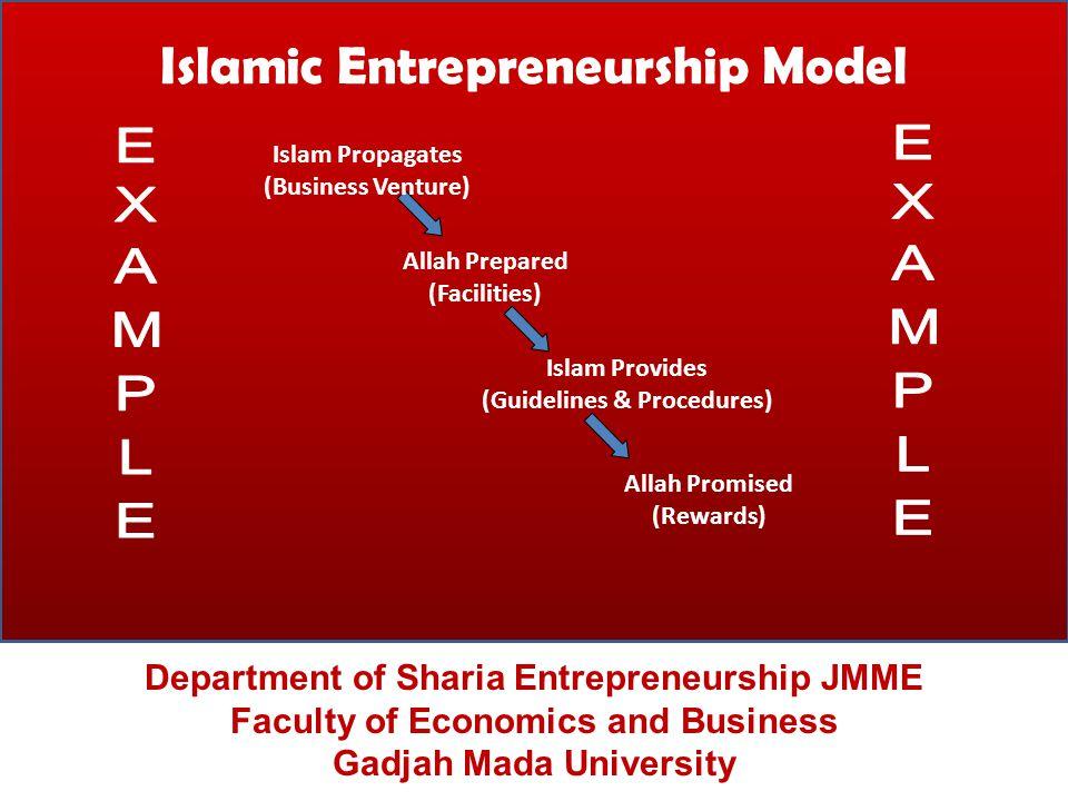 Islamic Entrepreneurship Model Department of Sharia Entrepreneurship JMME Faculty of Economics and Business Gadjah Mada University Allah Prepared (Fac