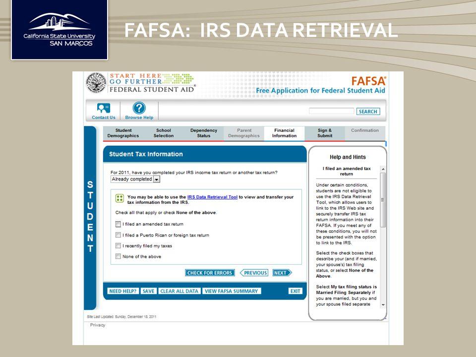 FAFSA: IRS DATA RETRIEVAL