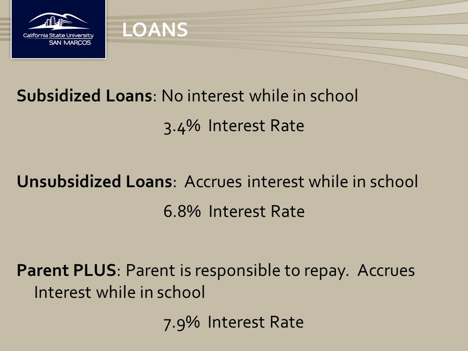 LOANS Subsidized Loans: No interest while in school 3.4% Interest Rate Unsubsidized Loans: Accrues interest while in school 6.8% Interest Rate Parent PLUS: Parent is responsible to repay.