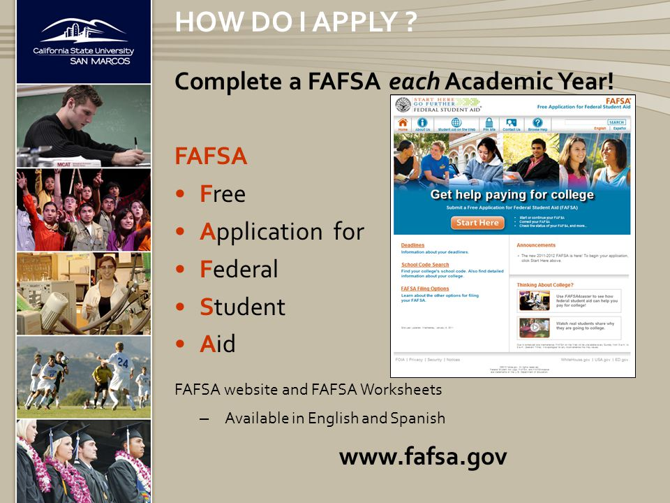 CATEGORIES OF FINANCIAL AID Need-based aid – Grants – Federal Work-Study Program – Subsidized Loans – Scholarships based on need Non need-based aid – Unsubsidized Loans – Parent PLUS Loans – TEACH – Scholarships without regard to need