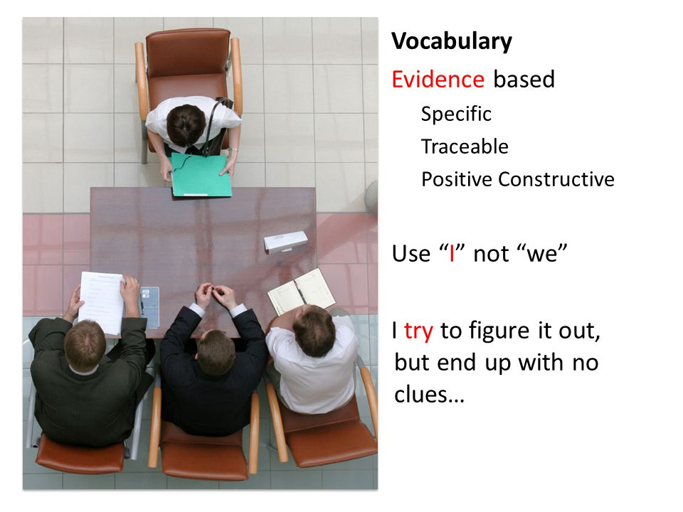 Vocabulary Evidence based Specific Traceable Positive Constructive Use I not we I try to figure it out, but end up with no clues…