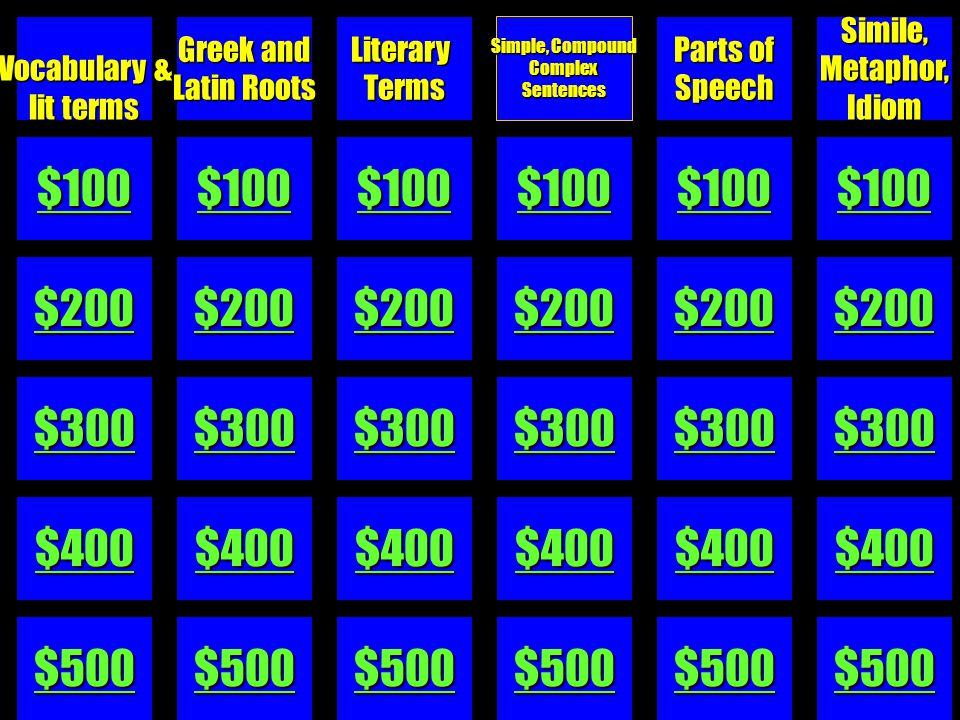 C4-$500 Simile, Metaphor, Idiom - $500 He was thinking outside of the box. Simile? Metaphor? Idiom?