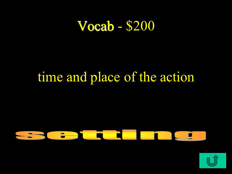 C1-$200 Vocab Vocab - $200 time and place of the action