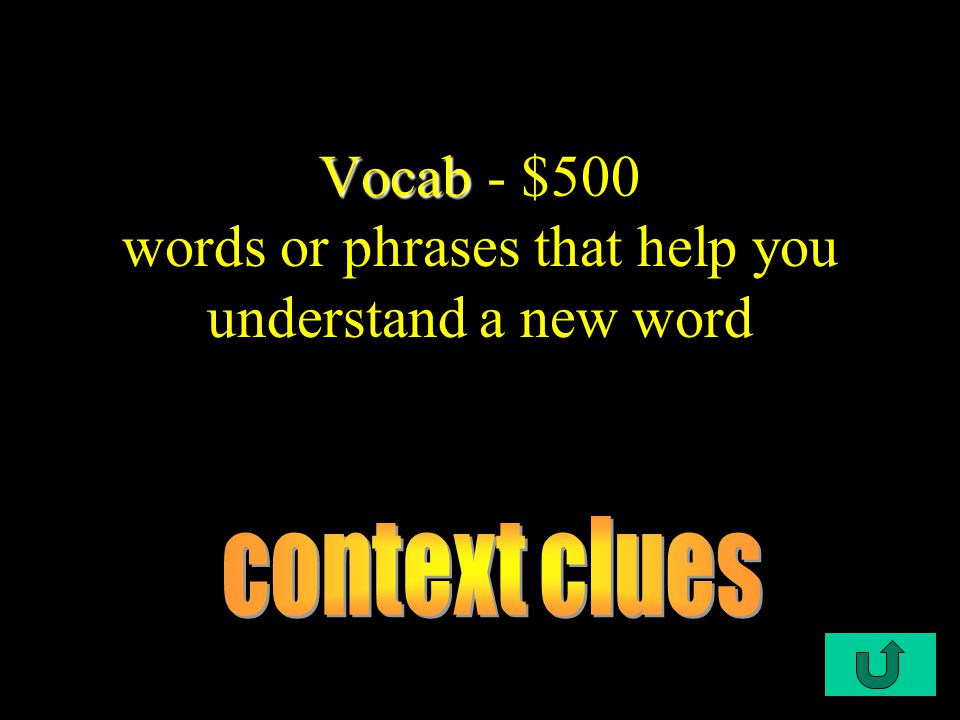 C1-$500 Vocab Vocab - $500 words or phrases that help you understand a new word