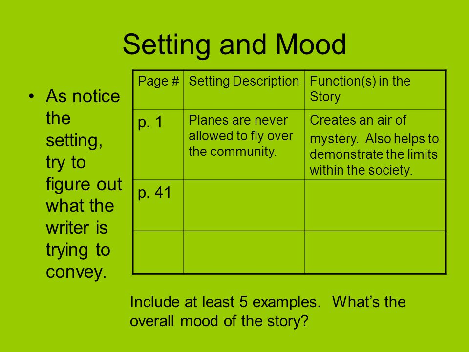 Setting and Mood As notice the setting, try to figure out what the writer is trying to convey. Page #Setting DescriptionFunction(s) in the Story p. 1