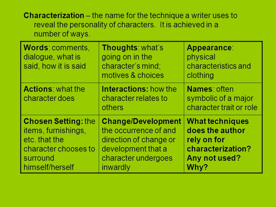 Characterization – the name for the technique a writer uses to reveal the personality of characters. It is achieved in a number of ways. Words: commen