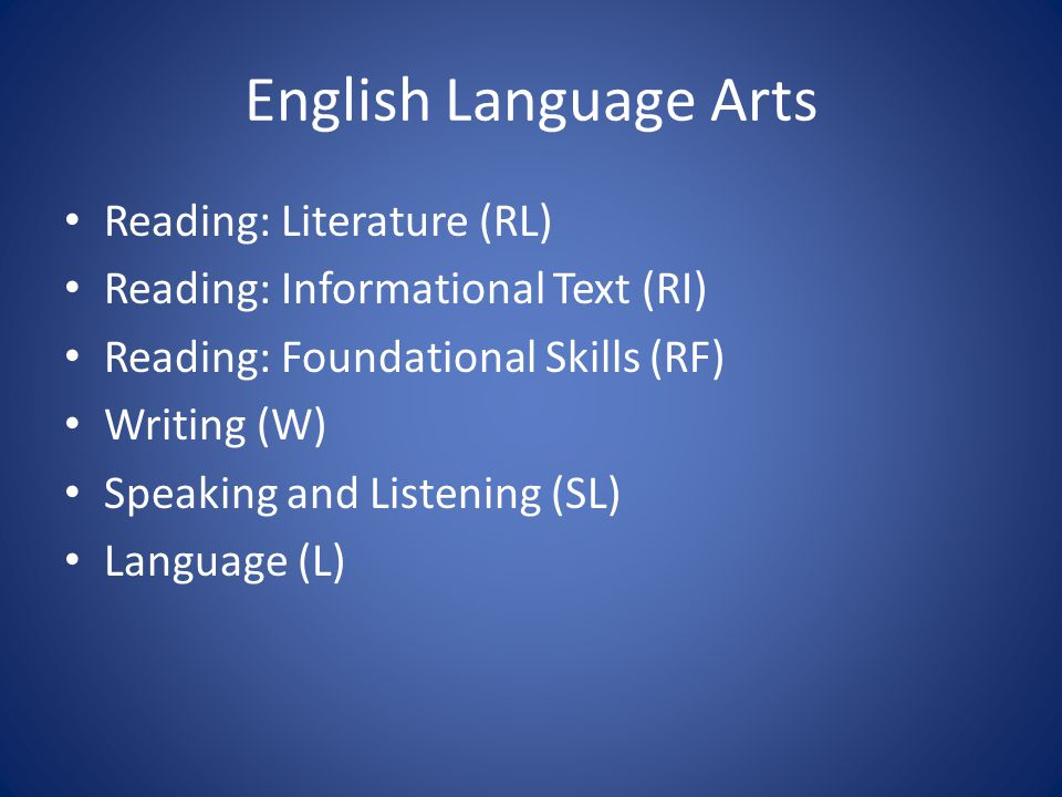 English Language Arts Reading: Literature (RL) Reading: Informational Text (RI) Reading: Foundational Skills (RF) Writing (W) Speaking and Listening (SL) Language (L)
