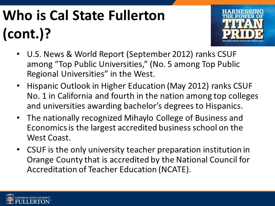 Who is Cal State Fullerton (cont.).U.S.
