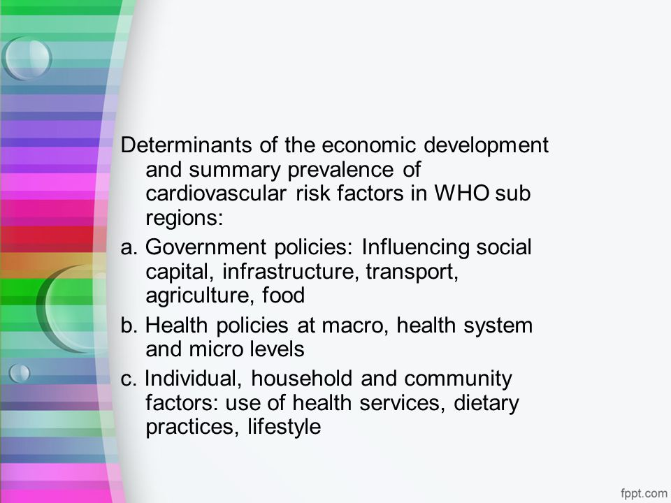Determinants of the economic development and summary prevalence of cardiovascular risk factors in WHO sub regions: a. Government policies: Influencing