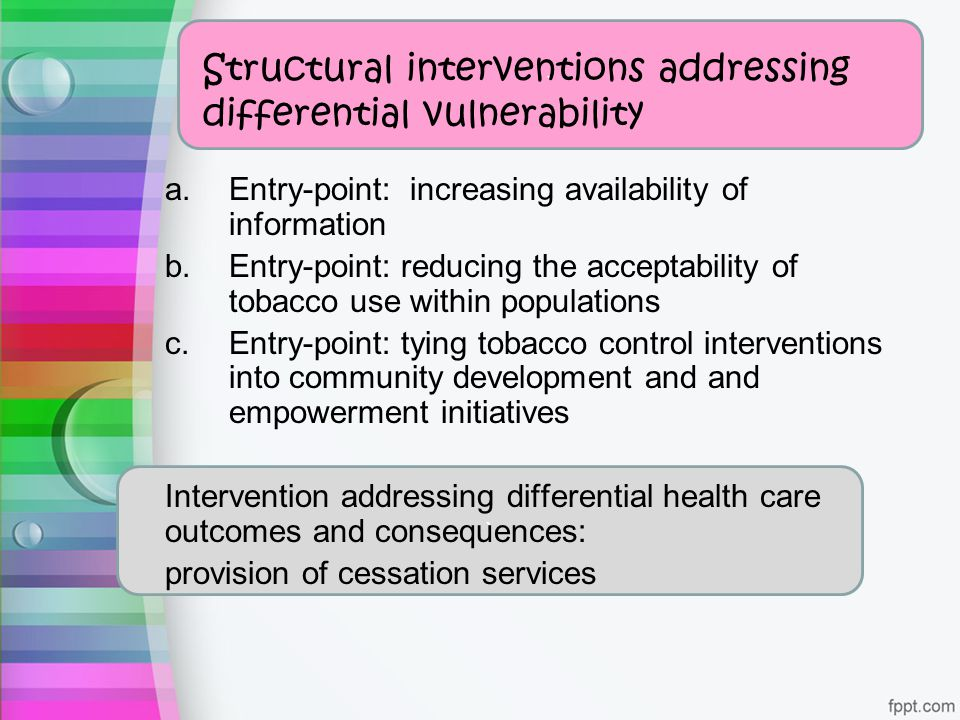 ` a.Entry-point: increasing availability of information b.Entry-point: reducing the acceptability of tobacco use within populations c.Entry-point: tyi