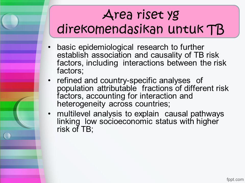 ` Area riset yg direkomendasikan untuk TB basic epidemiological research to further establish association and causality of TB risk factors, including