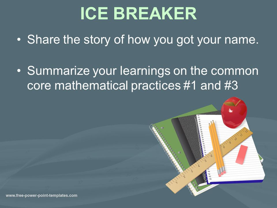 ICE BREAKER Share the story of how you got your name.