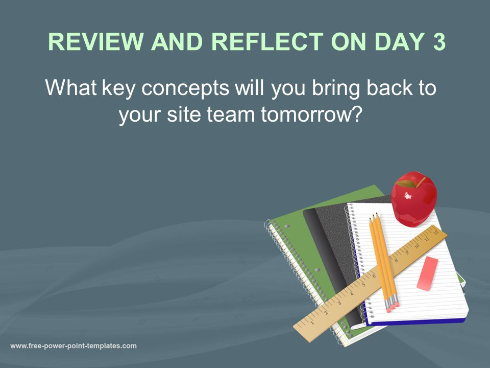 REVIEW AND REFLECT ON DAY 3 What key concepts will you bring back to your site team tomorrow?