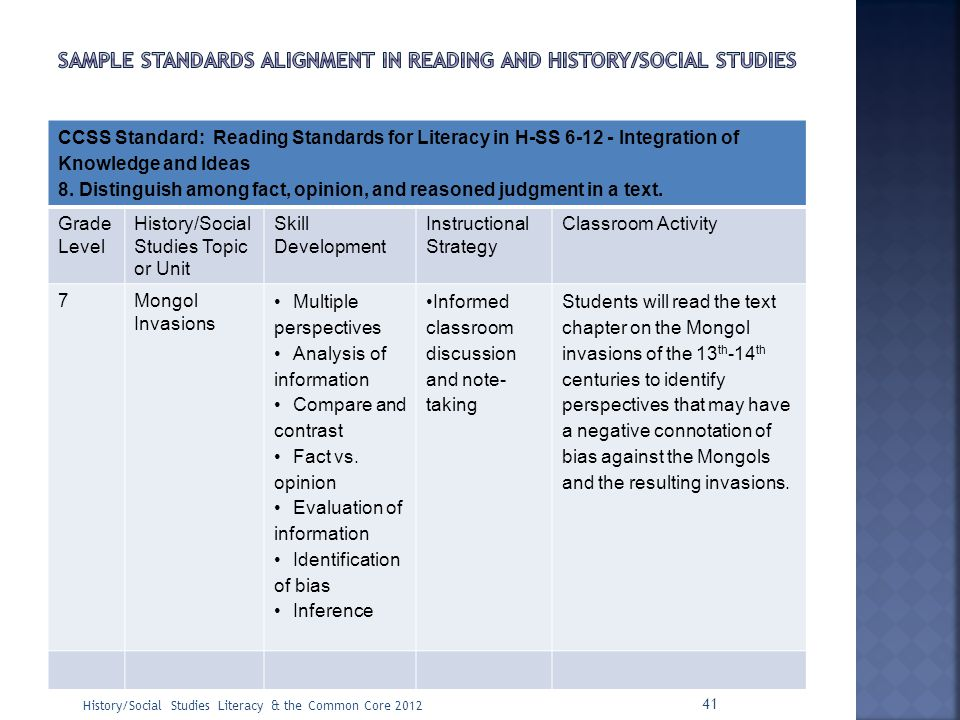 CCSS Standard: Reading Standards for Literacy in H-SS 6-12 - Integration of Knowledge and Ideas 8. Distinguish among fact, opinion, and reasoned judgm