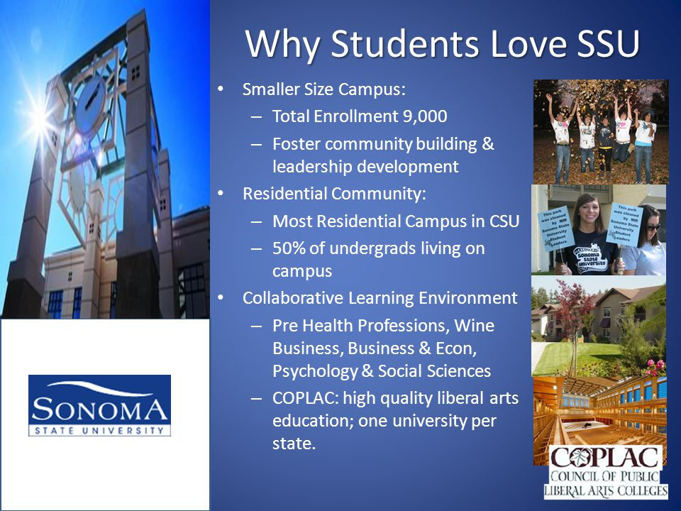 Why Students Love SSU Smaller Size Campus: – Total Enrollment 9,000 – Foster community building & leadership development Residential Community: – Most Residential Campus in CSU – 50% of undergrads living on campus Collaborative Learning Environment – Pre Health Professions, Wine Business, Business & Econ, Psychology & Social Sciences – COPLAC: high quality liberal arts education; one university per state.