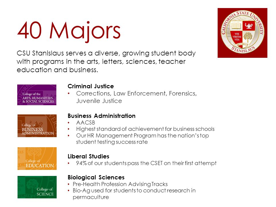 40 Majors CSU Stanislaus serves a diverse, growing student body with programs in the arts, letters, sciences, teacher education and business.