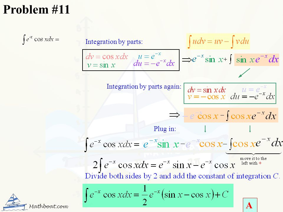 Integration by parts: Integration by parts again: Plug in: Problem #11 A Mathboat.com
