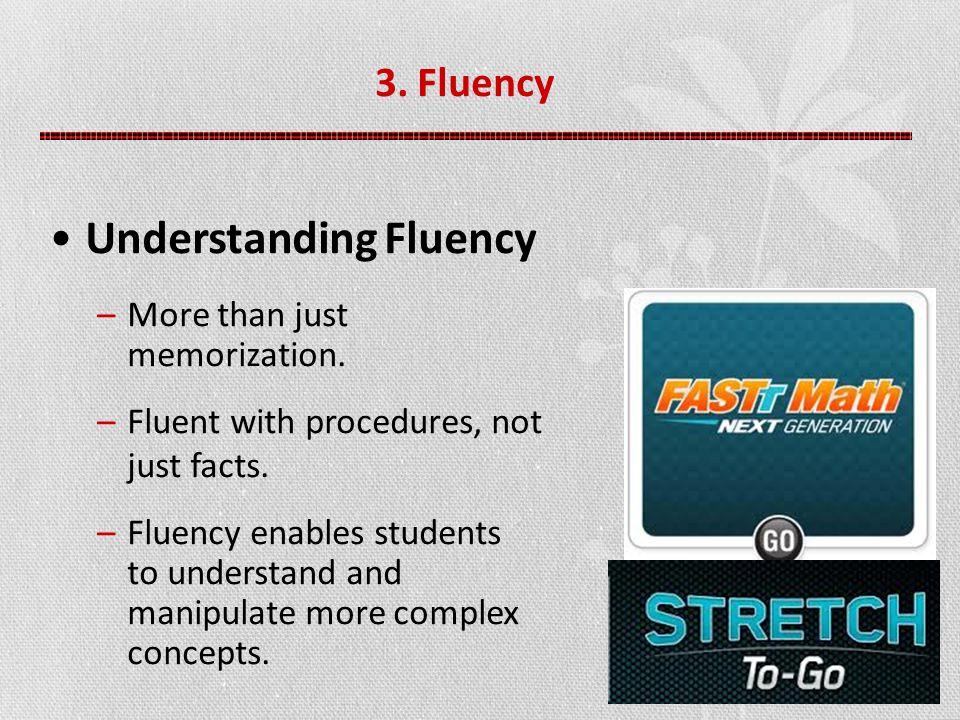 3. Fluency Understanding Fluency –More than just memorization.