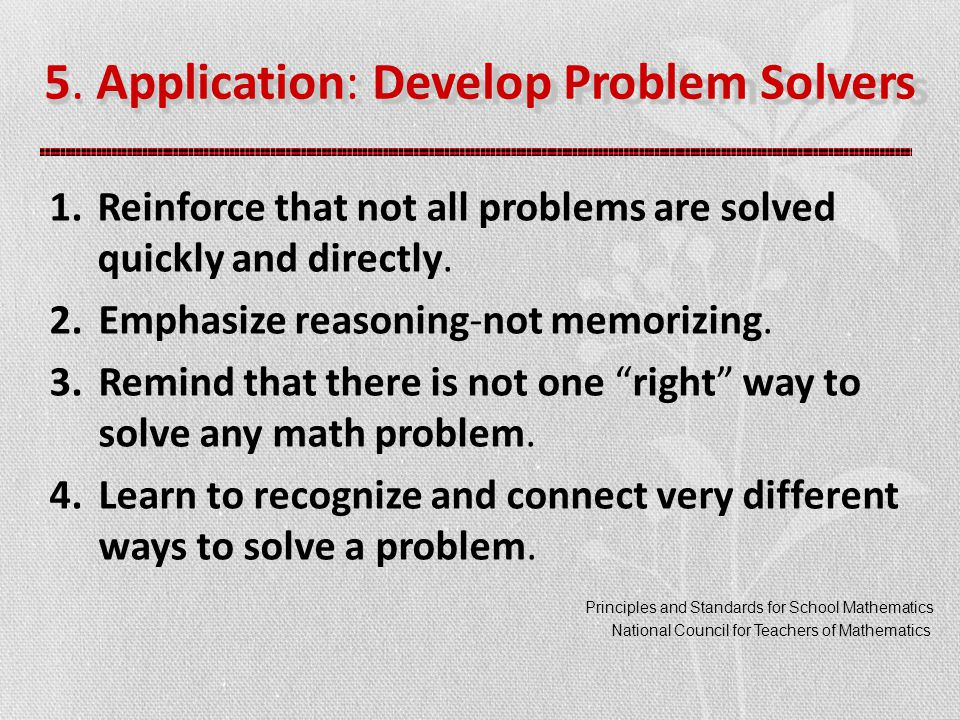 1.Reinforce that not all problems are solved quickly and directly.