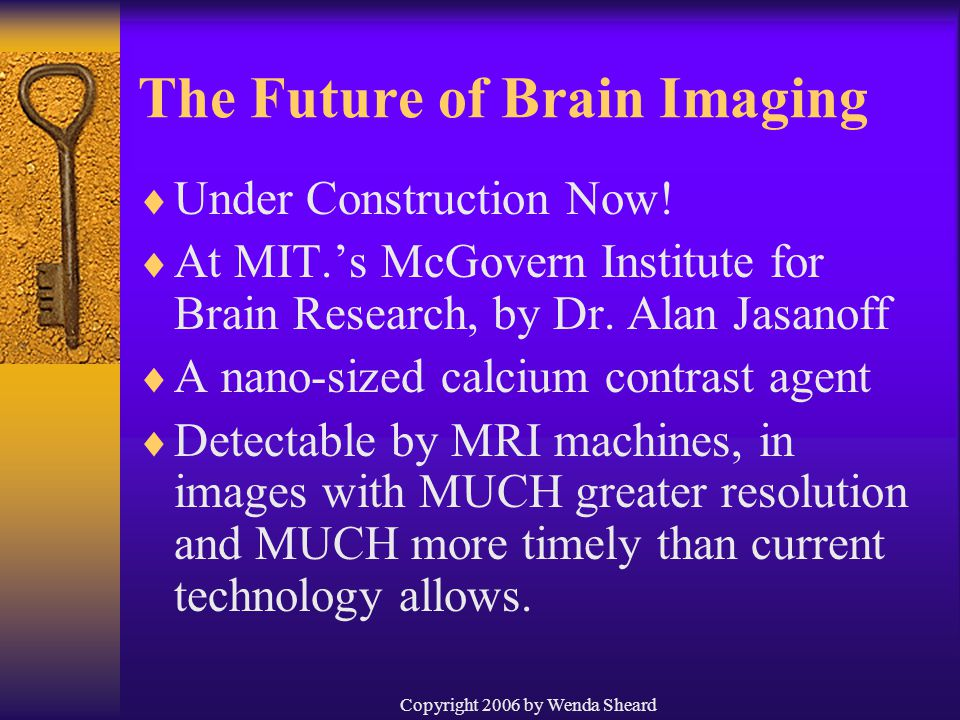 Copyright 2006 by Wenda Sheard The Future of Brain Imaging  Under Construction Now.
