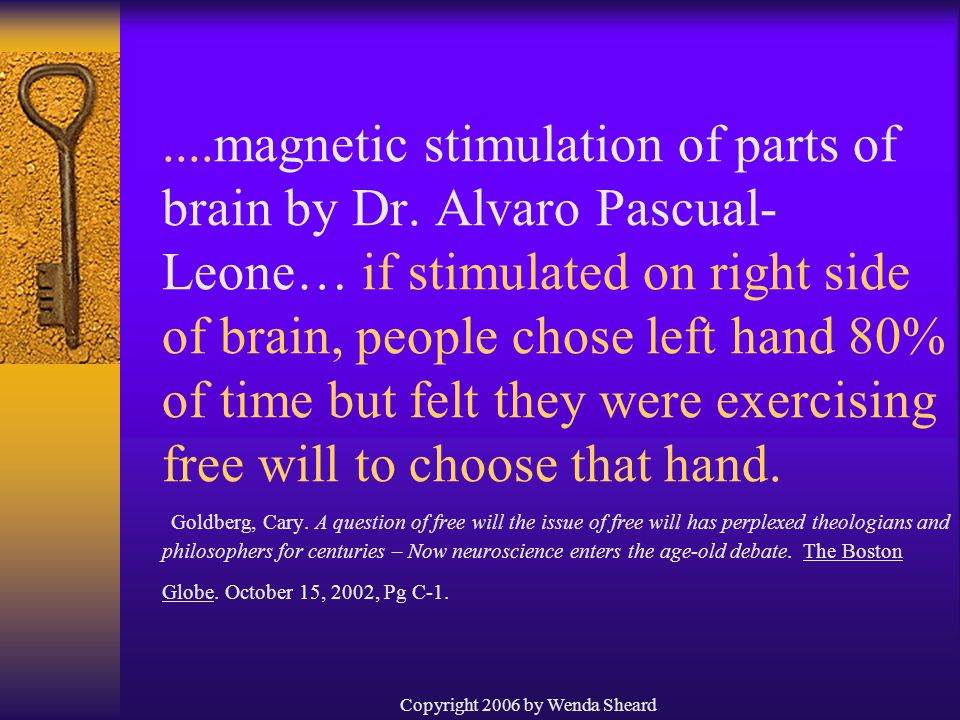 Copyright 2006 by Wenda Sheard....magnetic stimulation of parts of brain by Dr.