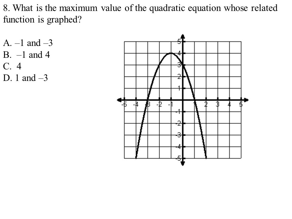 8. What is the maximum value of the quadratic equation whose related function is graphed? A. –1 and –3 B. –1 and 4 C. 4 D. 1 and –3