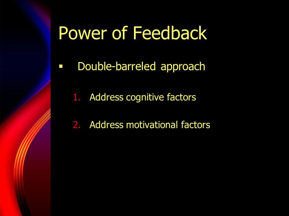Power of Feedback  Double-barreled approach 1.Address cognitive factors 2.Address motivational factors