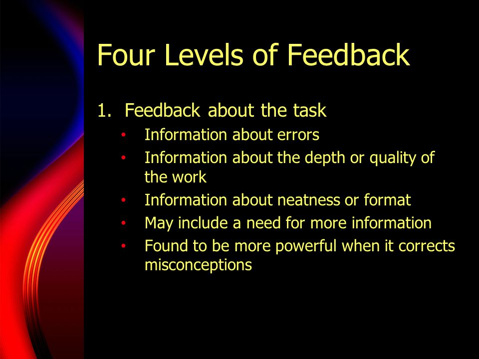 Four Levels of Feedback 1.Feedback about the task Information about errors Information about the depth or quality of the work Information about neatne