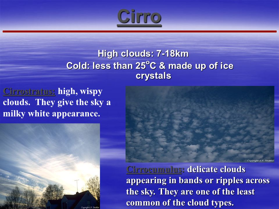 Cloud Type by Altitude-01 Clouds can also be classified based on their altitude There are three categories of cloud heights: High Clouds = Cirrus Midd