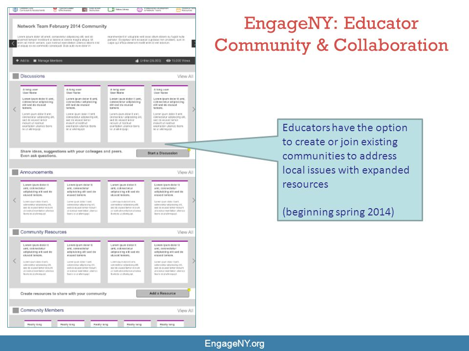 EngageNY.org EngageNY: Educator Community & Collaboration Educators have the option to create or join existing communities to address local issues wit