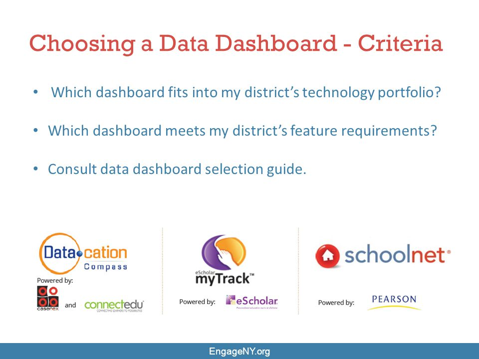 Which dashboard fits into my district's technology portfolio? Which dashboard meets my district's feature requirements? Consult data dashboard selecti