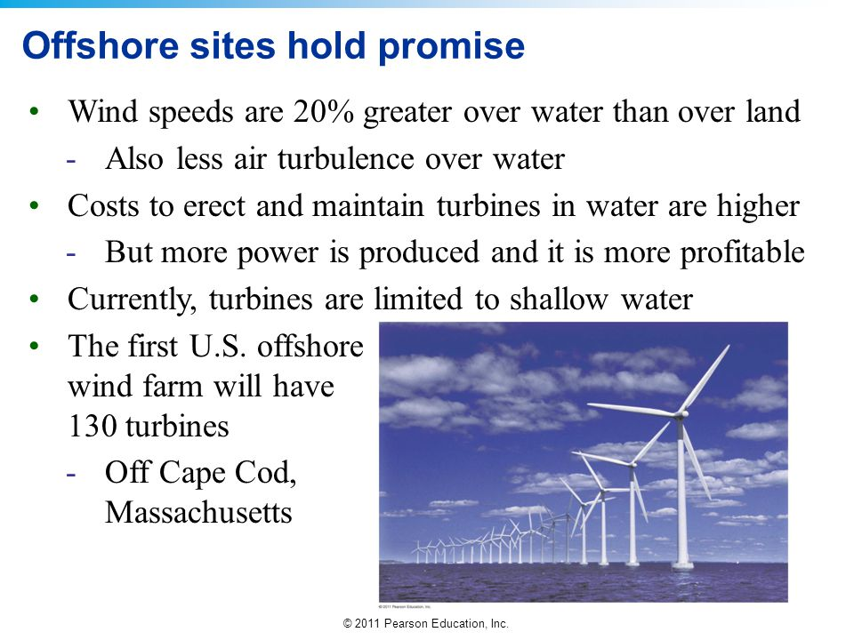 © 2011 Pearson Education, Inc. Offshore sites hold promise Wind speeds are 20% greater over water than over land -Also less air turbulence over water