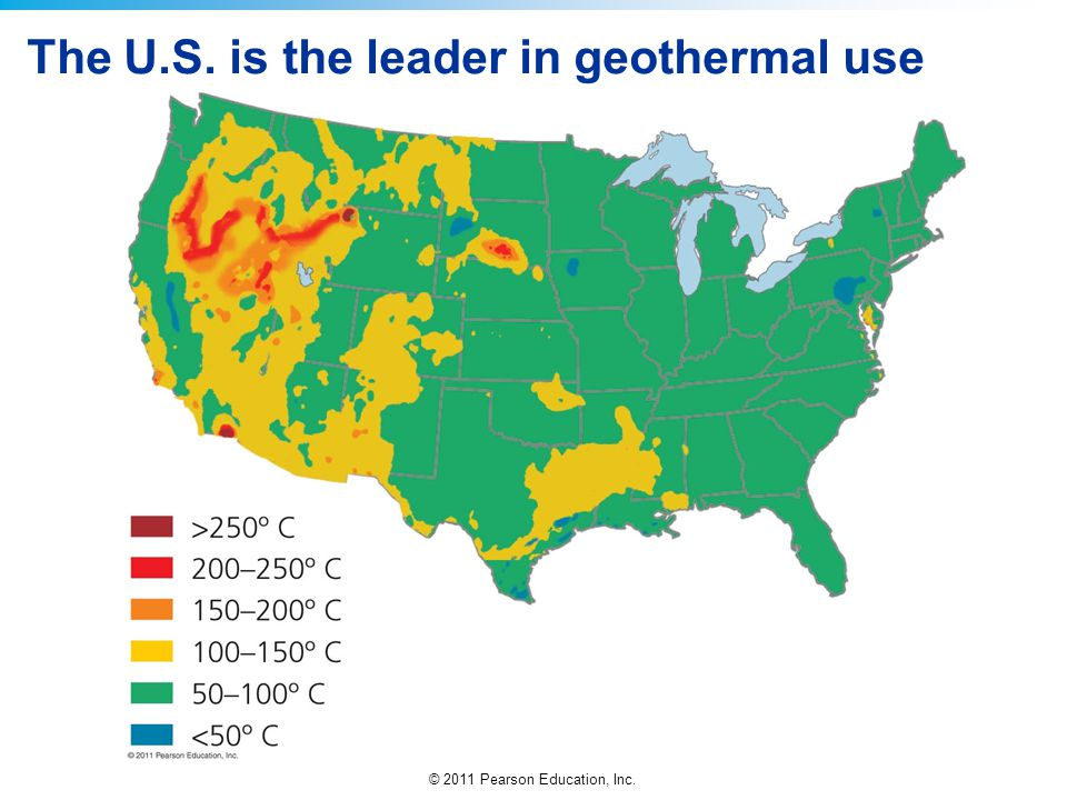 © 2011 Pearson Education, Inc. The U.S. is the leader in geothermal use