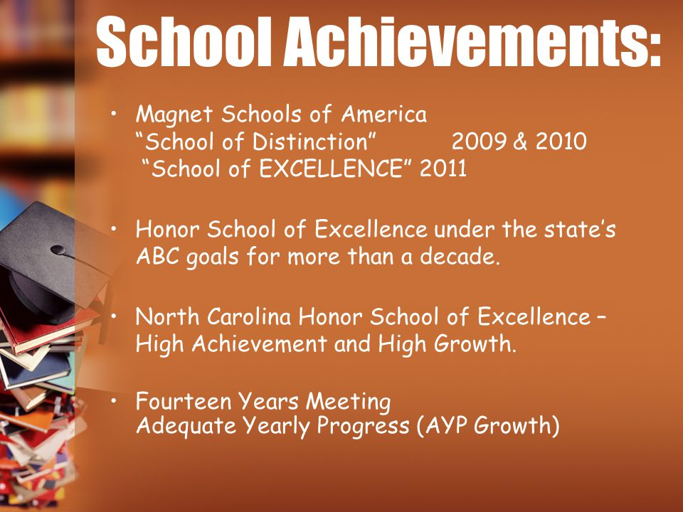"School Achievements: Magnet Schools of America ""School of Distinction"" 2009 & 2010 ""School of EXCELLENCE"" 2011 Honor School of Excellence under the st"