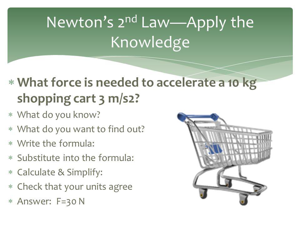  What force is needed to accelerate a 10 kg shopping cart 3 m/s2?  What do you know?  What do you want to find out?  Write the formula:  Substitu