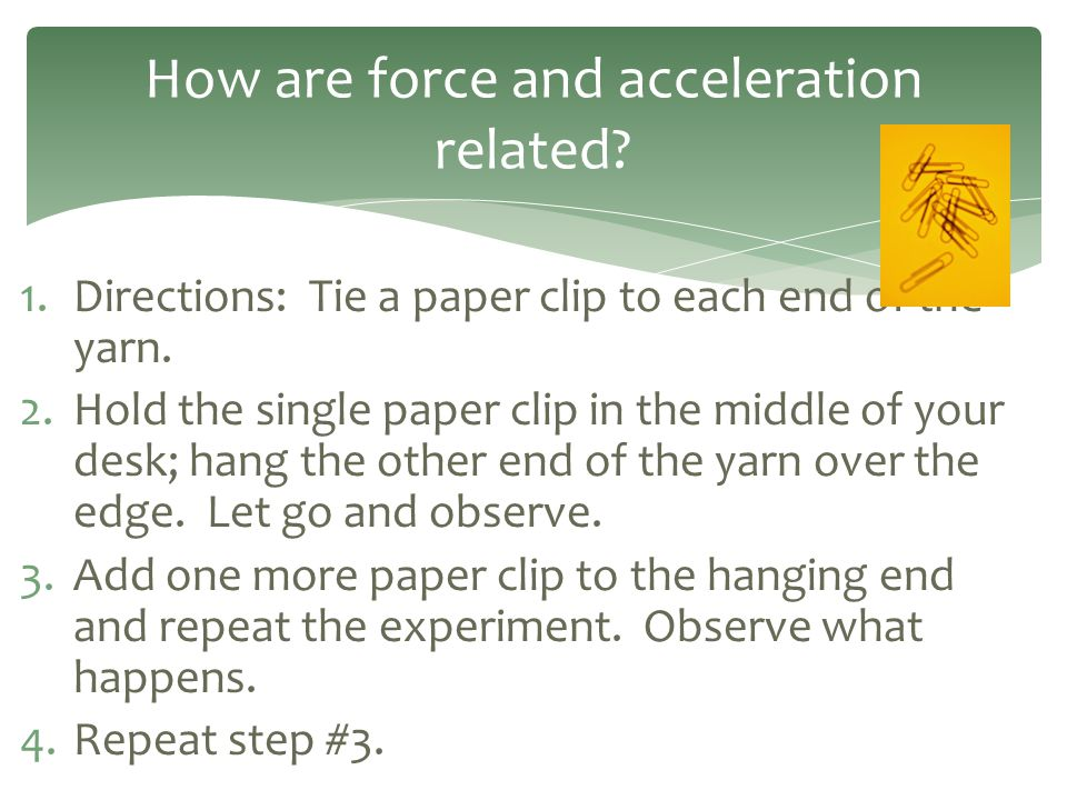 1.Directions: Tie a paper clip to each end of the yarn. 2.Hold the single paper clip in the middle of your desk; hang the other end of the yarn over t