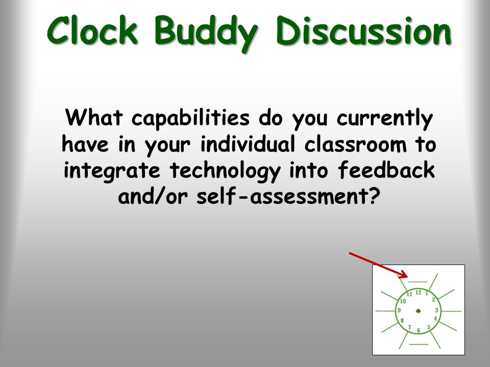 Clock Buddy Discussion What capabilities do you currently have in your individual classroom to integrate technology into feedback and/or self-assessment