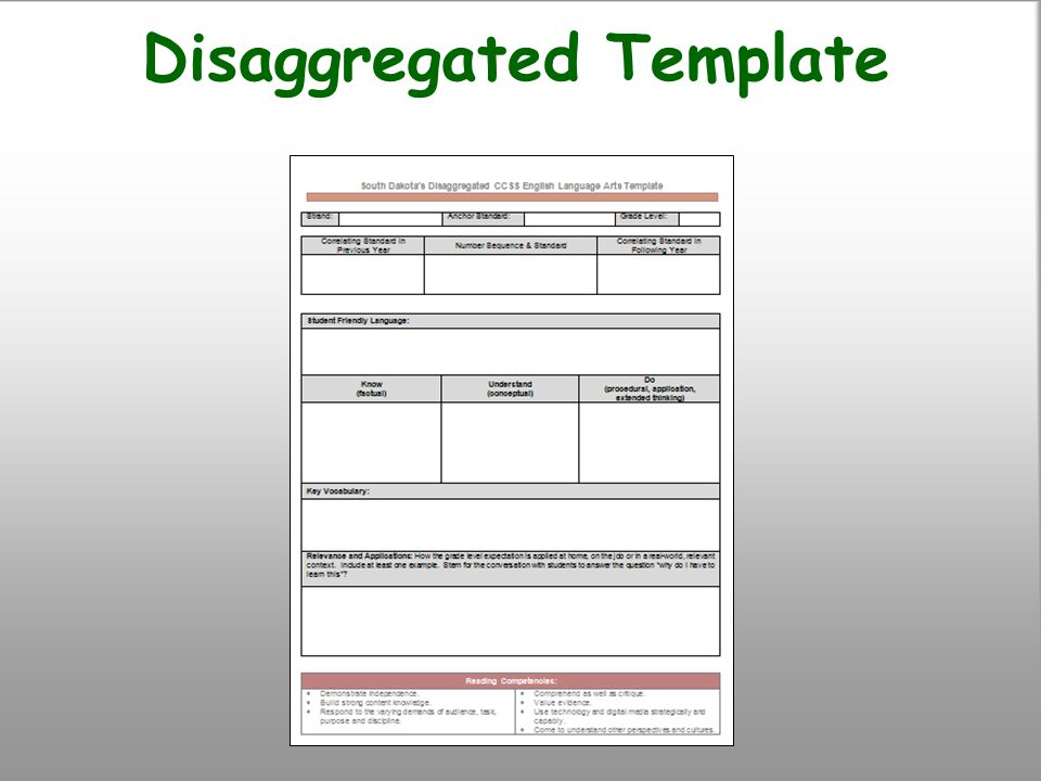 Disaggregated Template