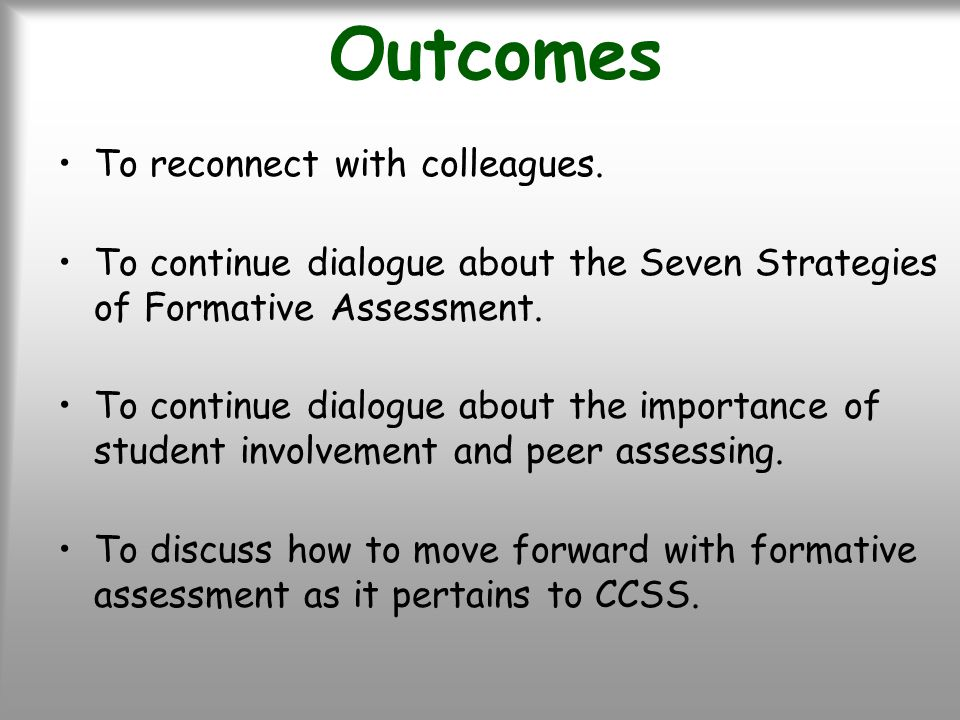 Outcomes To reconnect with colleagues.