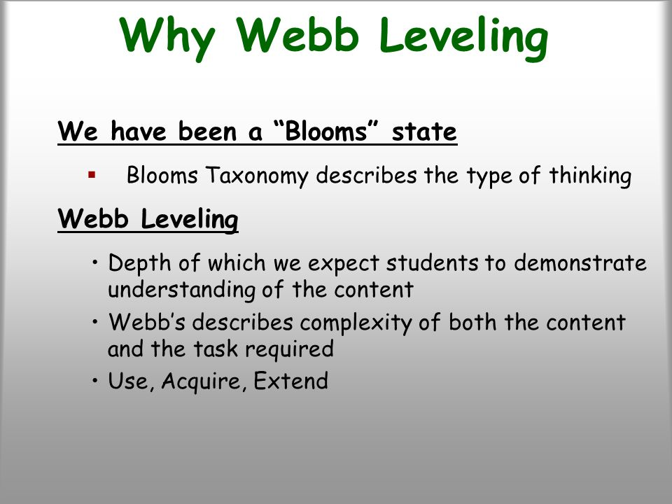 Why Webb Leveling We have been a Blooms state  Blooms Taxonomy describes the type of thinking Webb Leveling Depth of which we expect students to demonstrate understanding of the content Webb's describes complexity of both the content and the task required Use, Acquire, Extend