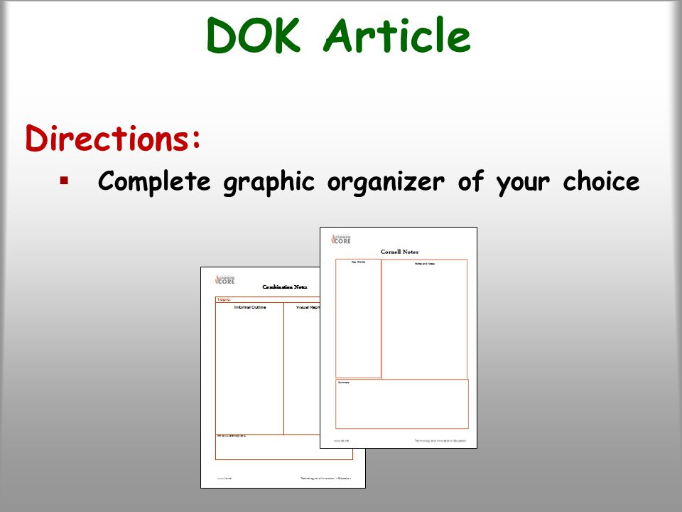 DOK Article Directions:  Complete graphic organizer of your choice
