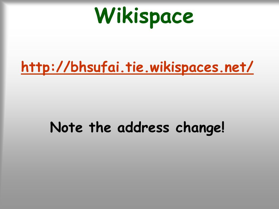 Wikispace http://bhsufai.tie.wikispaces.net/ Note the address change!