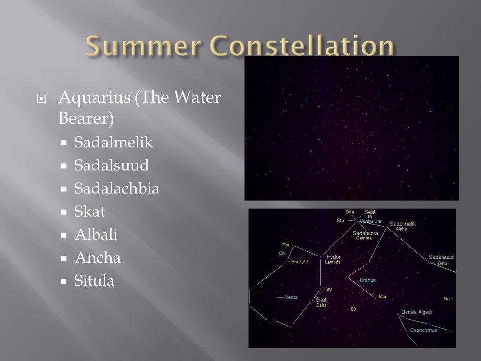  Aquarius (The Water Bearer)  Sadalmelik  Sadalsuud  Sadalachbia  Skat  Albali  Ancha  Situla