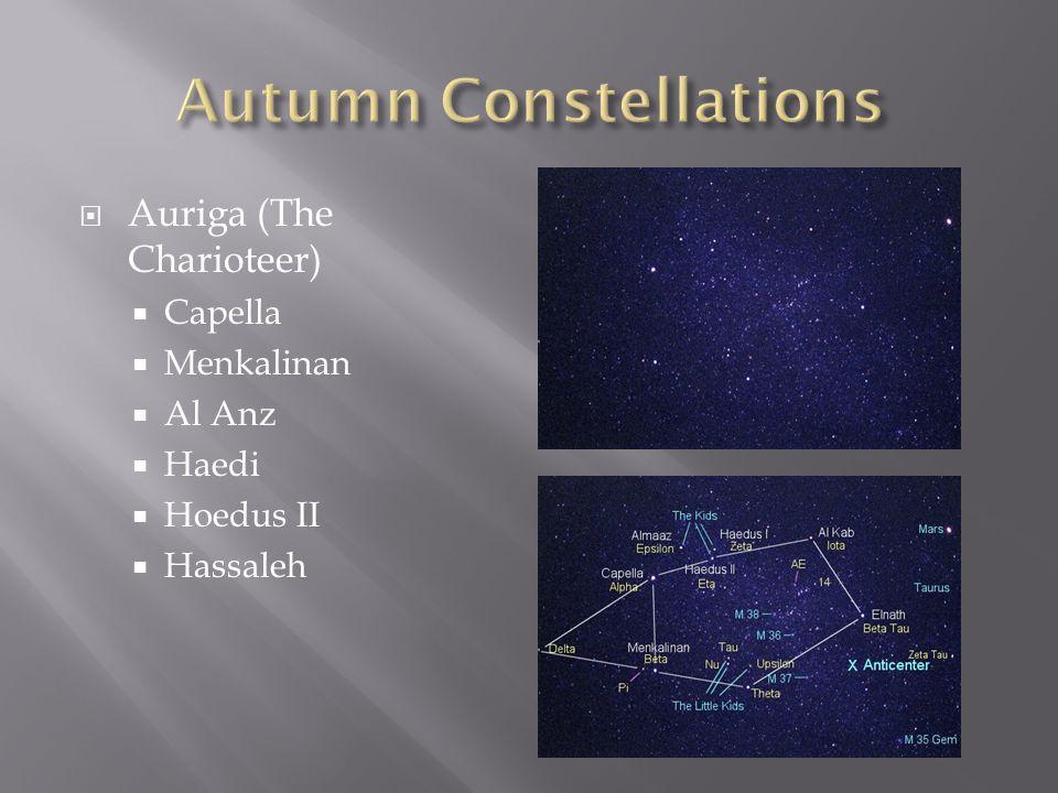  Auriga (The Charioteer)  Capella  Menkalinan  Al Anz  Haedi  Hoedus II  Hassaleh